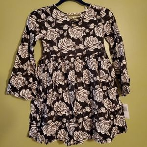 Rose pattern dress long sleeve by Jessica Simpson